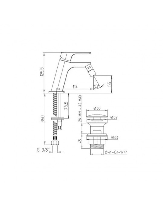 Miscelatore bidet scarico simple rapid Paini Atacama WWCR306SR Paini 66,00€