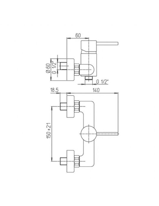 "Miscelatore doccia esterno 1/2""Paini CROMO Cox Open 78CR511 Paini 84,00€"