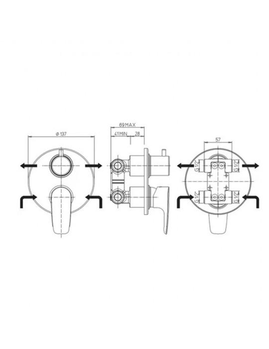Miscelatore doccia incasso con deviatore rotativo 2 uscite Paini Parallel 47CR6911 Paini 67,00€