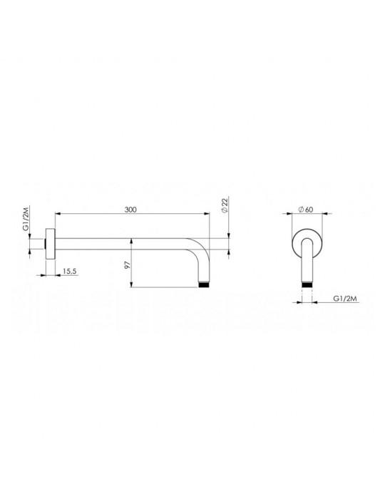 Kit doccia da incasso con deviatore rotativo completo di braccio soffione doccia Paini Nove 09CR433D Paini 195,00€