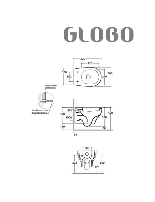 Vaso sospeso scarico 4/2,6 Lt. bianco-GRS02.BI Globo Grace Ceramica Globo 140,00€