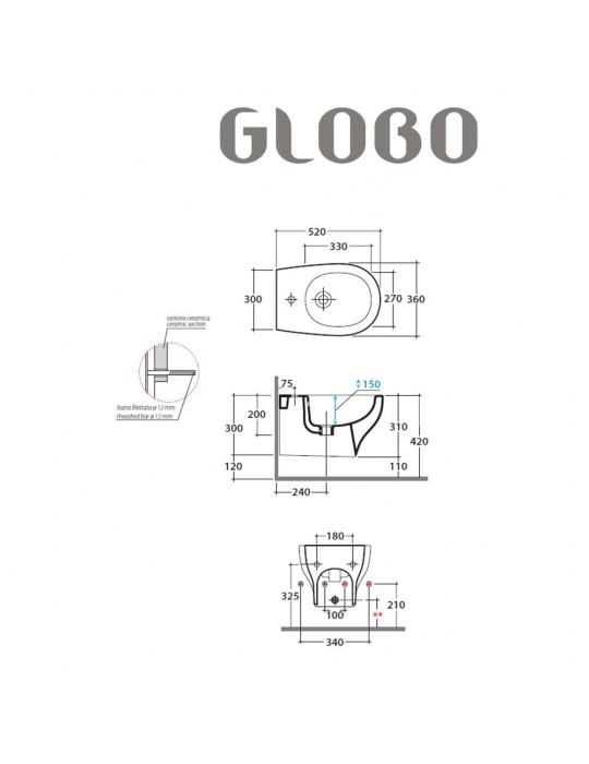 Bidet sospeso monoforo bianco-GRS09BI Globo-Grace Ceramica Globo 140,00€