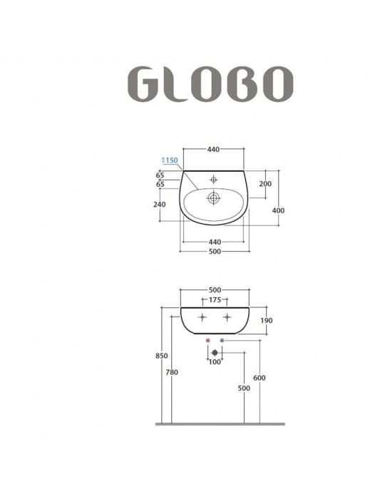 Lavabo cm 50 monoforo Grace bianco-GR050.BI Globo Ceramica Globo 55,00€