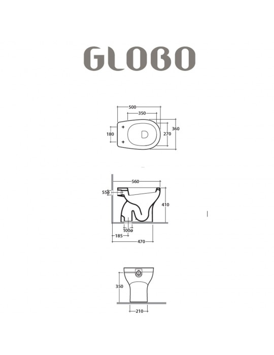 Vaso a terra scarico a pavimento-GR007.BI Globo Grace Ceramica Globo 100,00€