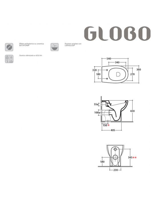 Vaso cm 54 due volumi bianco-MD001BI Globo-4ALL Ceramica Globo 190,00€