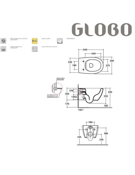 Vaso sospeso cm54 s/brida bianco lucido-MDS03BI Globo-4ALL Ceramica Globo 280,00€