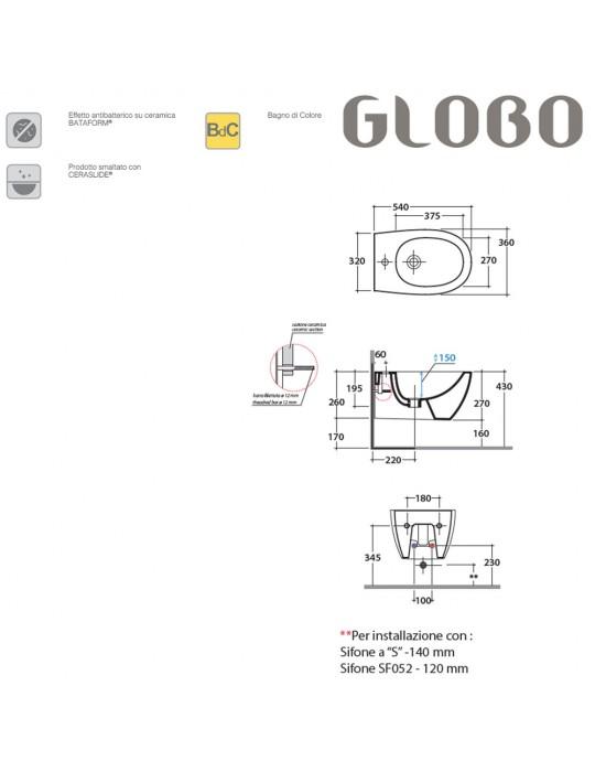 Bidet sospeso cm 54 bianco lucido-MDS09BI Globo-4ALL Ceramica Globo 220,00€