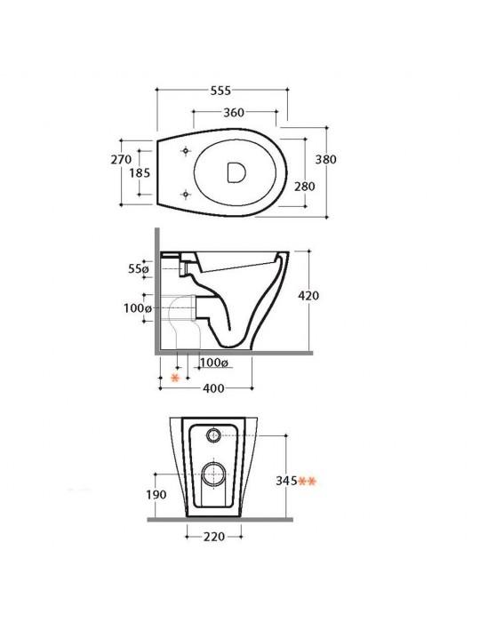 Vaso wc multi cm 55x38 bianco-BP001.BI Globo BOWL+ Ceramica Globo 275,00€