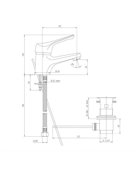 "Miscelatore monoforo lavabo, scarico automatico 1"" 1/4 Paini Pilot-04CR211P1 Paini 35,00€"