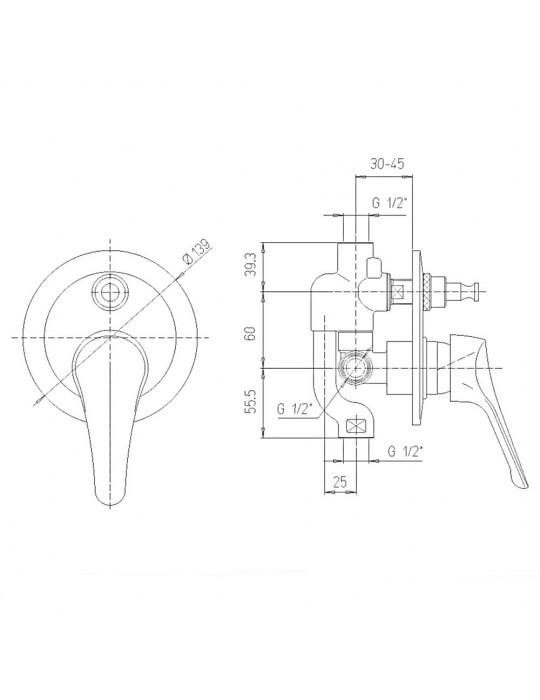 Miscelatore doccia incasso con deviatore Paini Pilot 04CR691P1 Paini 59,00€