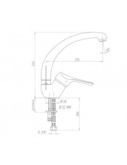 Rubinetto lavello Monocomando monoforo con bocca tubo orientabile Paini Pilot 04CR570P1 Paini 41,50€