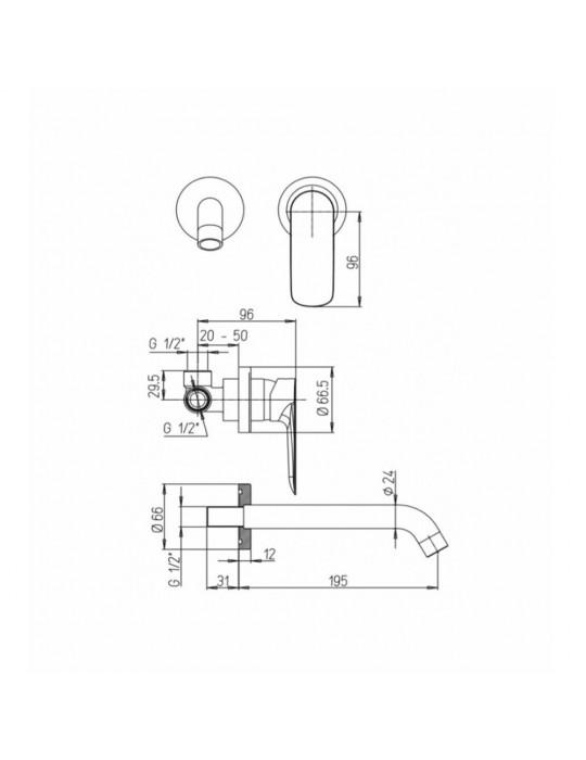 Miscelatore lavabo a muro, bocca interasse mm 190 Paini Nove 09CR208 Paini 85,00€
