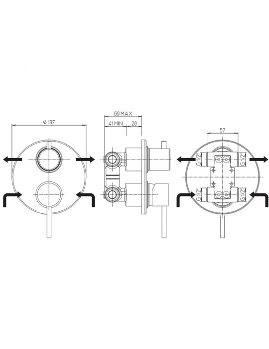 Miscelatore doccia incasso con deviatore rotativo 2 uscite Paini Cox Open 78CR6911 Paini 110,00€