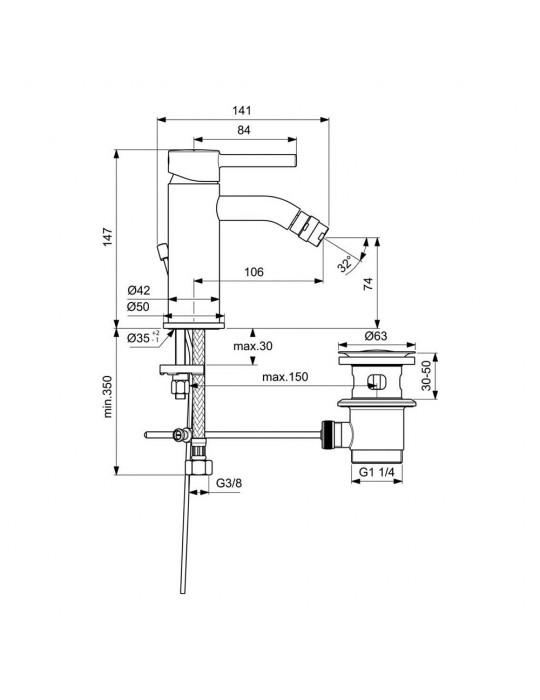 Miscelatore monocomando bidet Ideal Standard Ceraline BC197AA Ideal Standard 85,00€