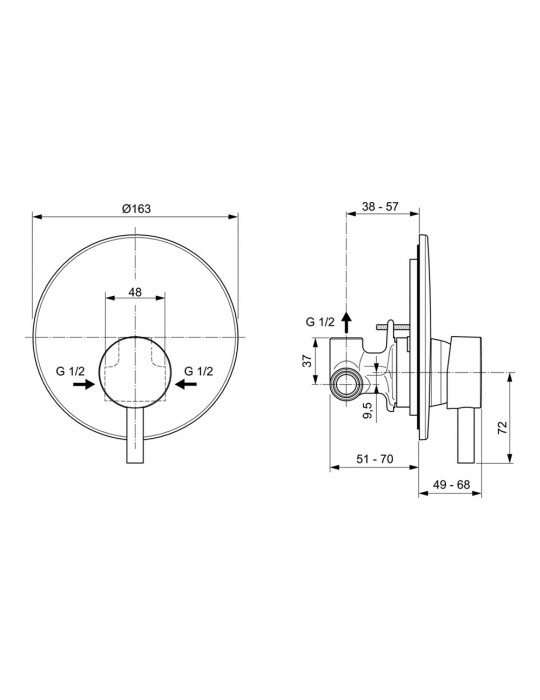 Miscelatore monocomando ad incasso per doccia Ceraline A6940AA Ideal Standard Ideal Standard 100,00€