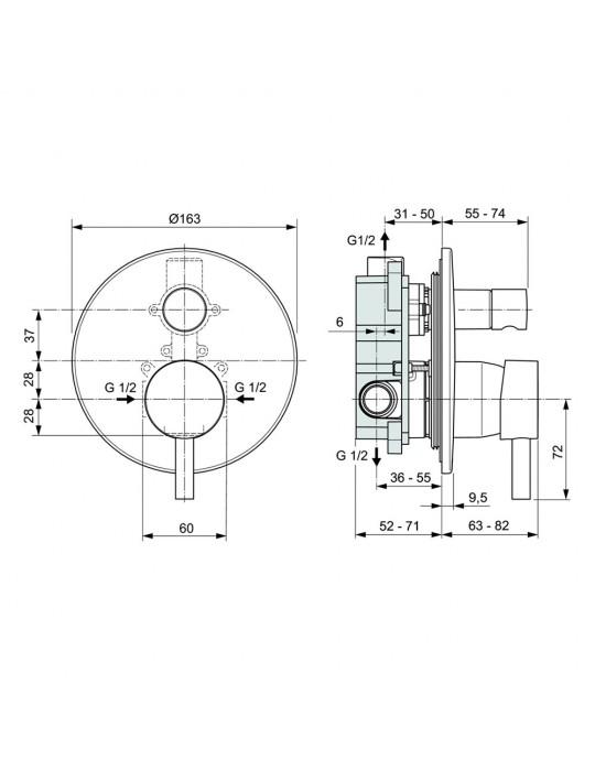 Miscelatore monocomando ad incasso vasca/doccia con deviatore Ceraline A6939AA Ideal Standard Ideal Standard 115,00€