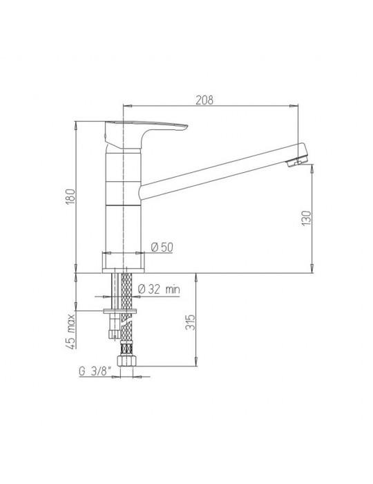 Miscelatore lavello monocomando monoforo bocca coassiale Paini Parallel 47CR573 Paini 55,00€