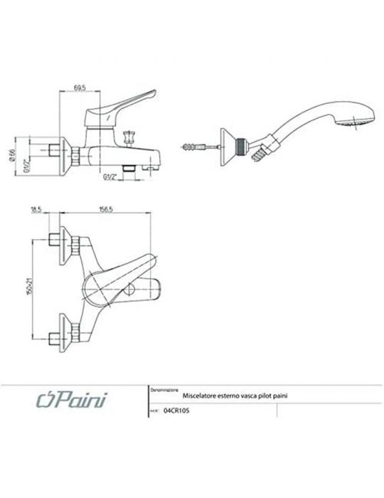 """Miscelatore vasca esterno con doccia """"Duplex""""Paini Pilot 04CR105p1 Paini 55,00€"""